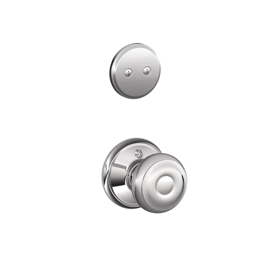 Schlage Georgian 1-5/8-in to 1-3/4-in Bright Chrome Non-Keyed Knob Entry Door Interior Handle