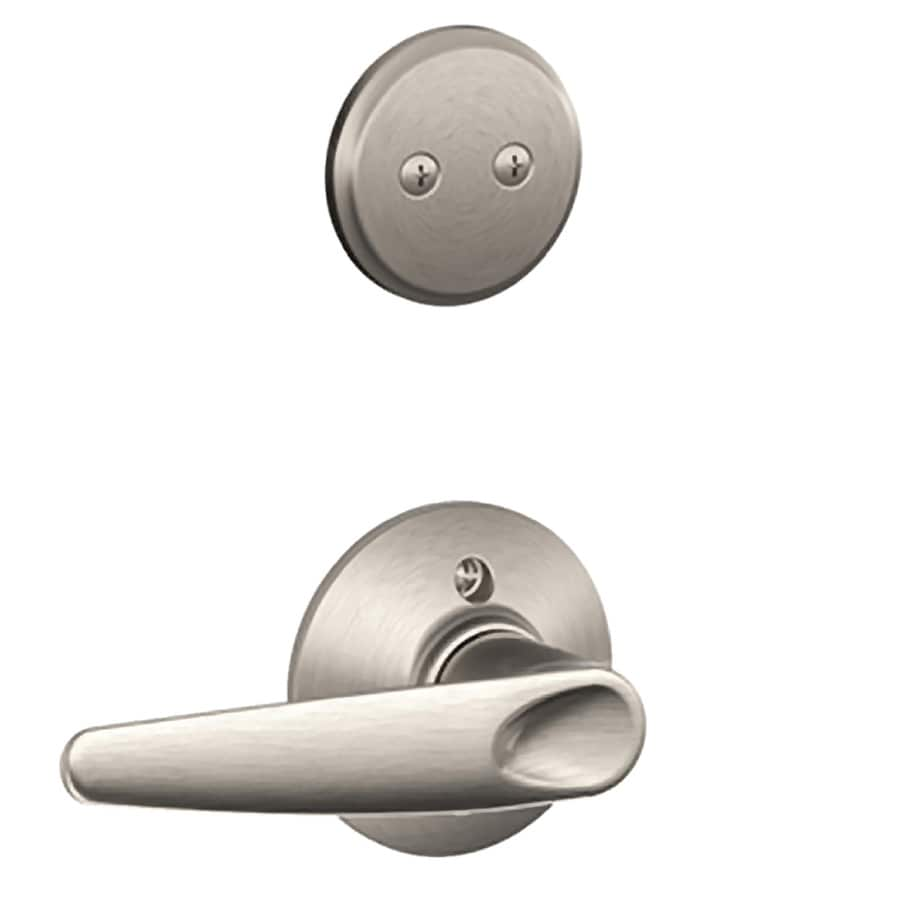 Schlage Jazz 1 5 8 In To 1 3 4 In Satin Nickel Non Keyed Lever Entry Door Interior Handle At