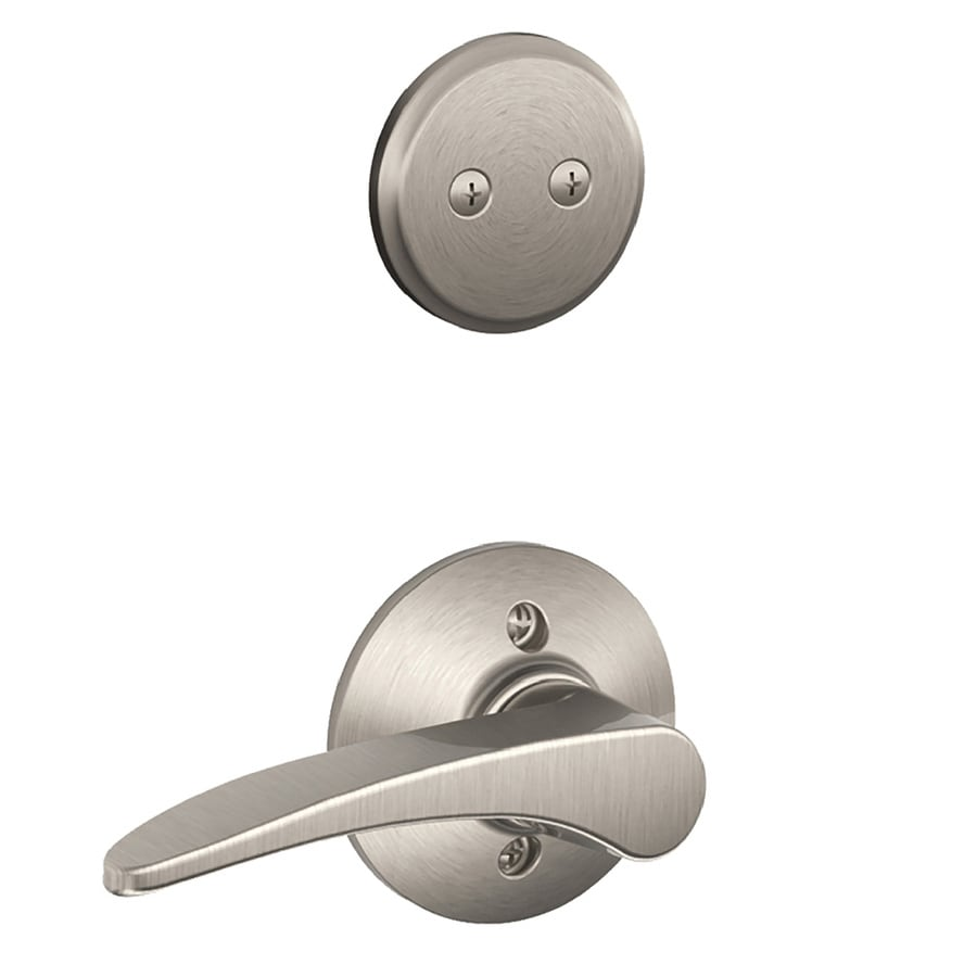Schlage Manhattan 1-5/8-in to 1-3/4-in Satin Nickel Non-Keyed Lever Entry Door Interior Handle