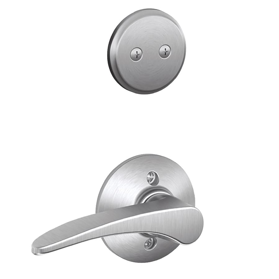Schlage Manhattan 1-5/8-in to 1-3/4-in Satin Chrome Non-Keyed Lever Entry Door Interior Handle