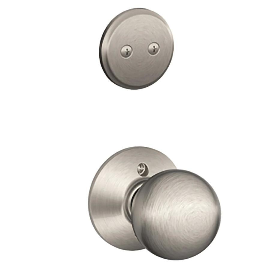 Schlage Orbit 1-5/8-in to 1-3/4-in Satin Nickel Non-Keyed Knob Entry Door Interior Handle