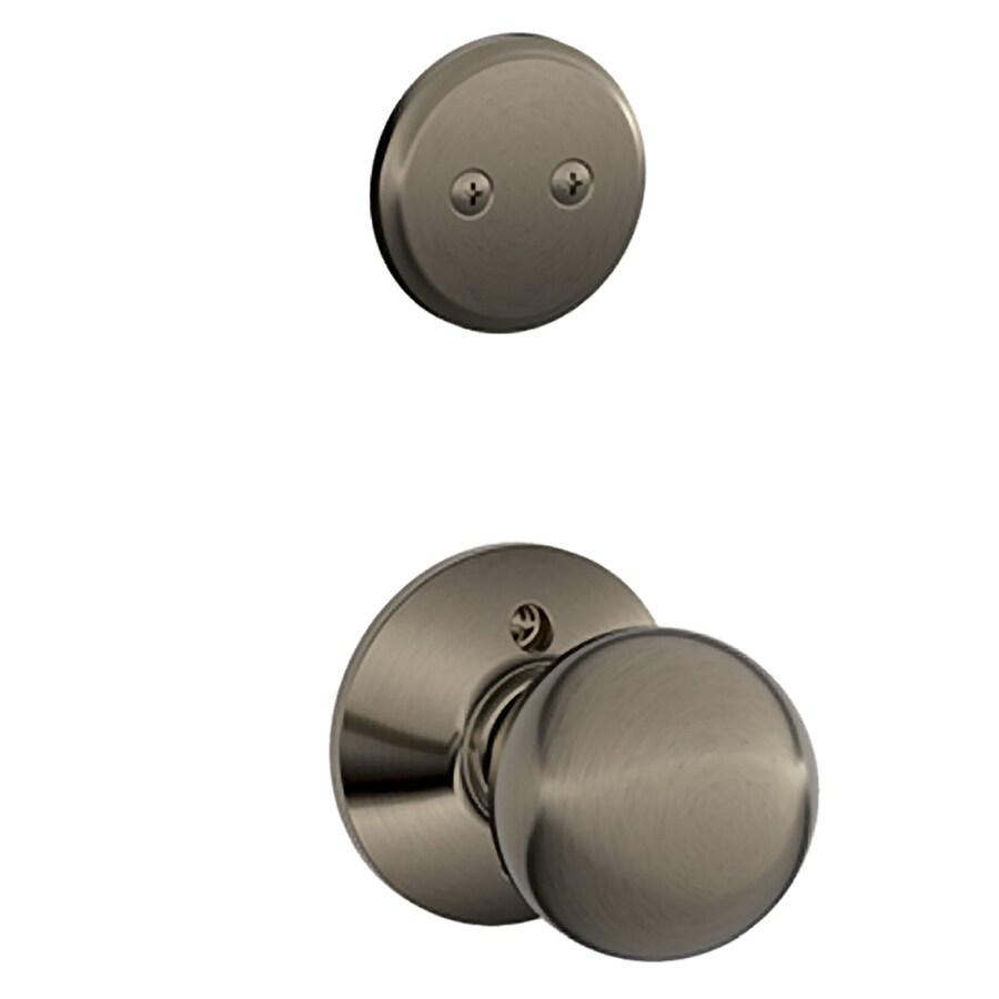 Schlage Orbit 1-5/8-in to 1-3/4-in Antique Pewter Non-Keyed Knob Entry Door Interior Handle