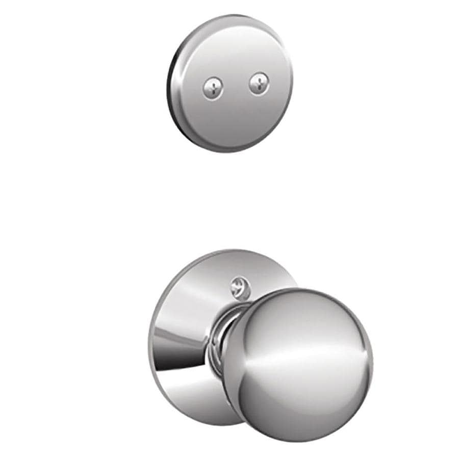 Schlage Orbit 1-5/8-in to 1-3/4-in Bright Chrome Non-Keyed Knob Entry Door Interior Handle