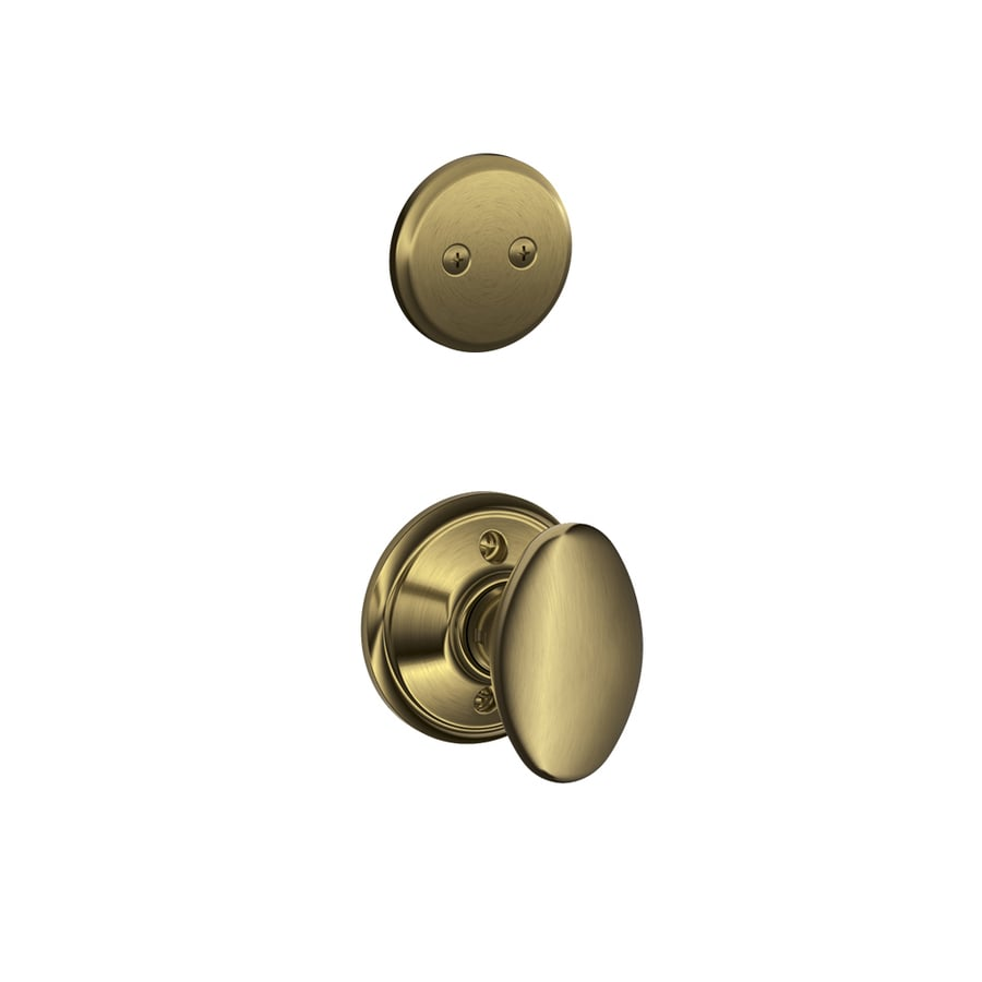 Schlage Siena 1-5/8-in to 1-3/4-in Antique Brass Non-Keyed Knob Entry Door Interior Handle