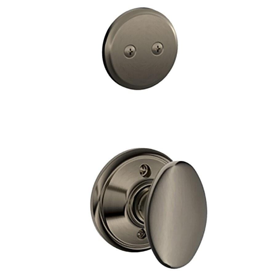 Schlage Siena 1-5/8-in to 1-3/4-in Antique Pewter Non-Keyed Knob Entry Door Interior Handle