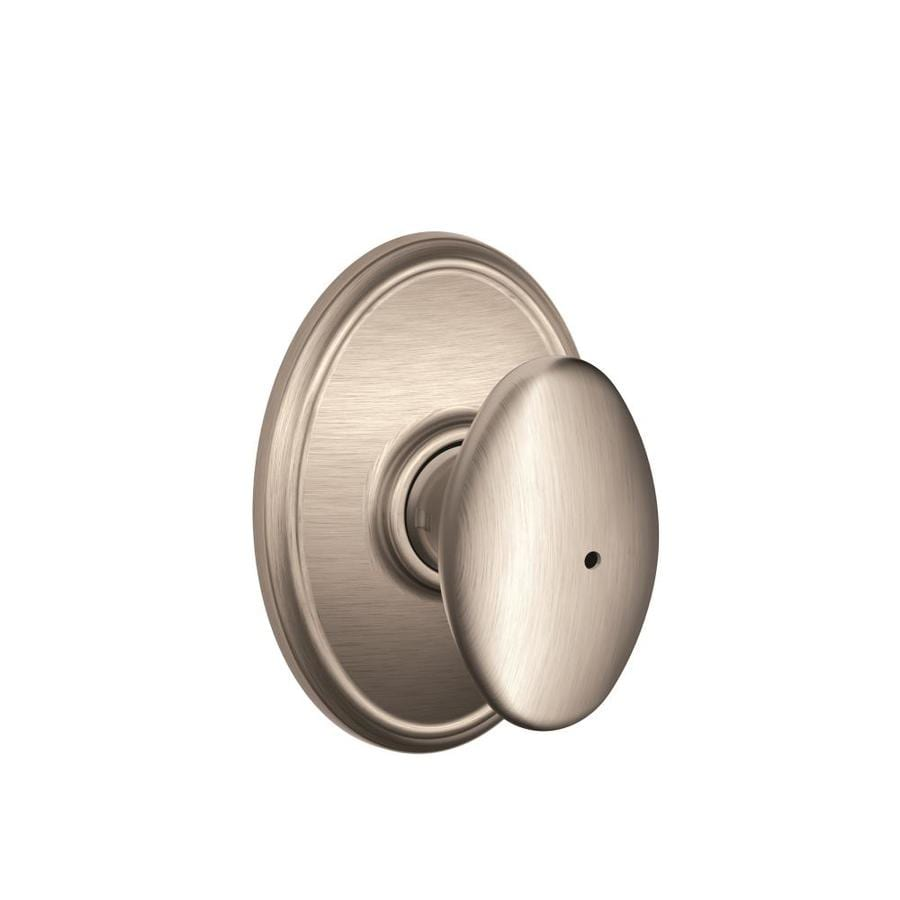 Schlage F Decorative Wakefield Collections Siena Satin Nickel Egg Push Button-Lock Privacy Door Knob