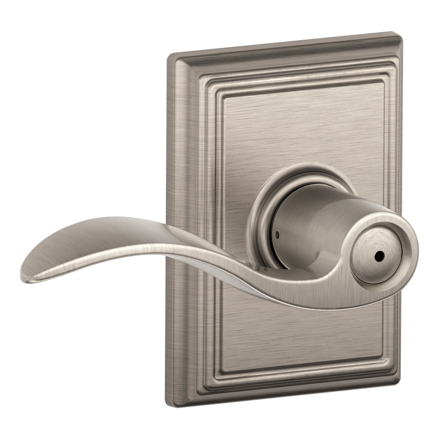 Schlage F Decorative Addison Collections Accent Satin Nickel Push-Button Lock Privacy Door Lever
