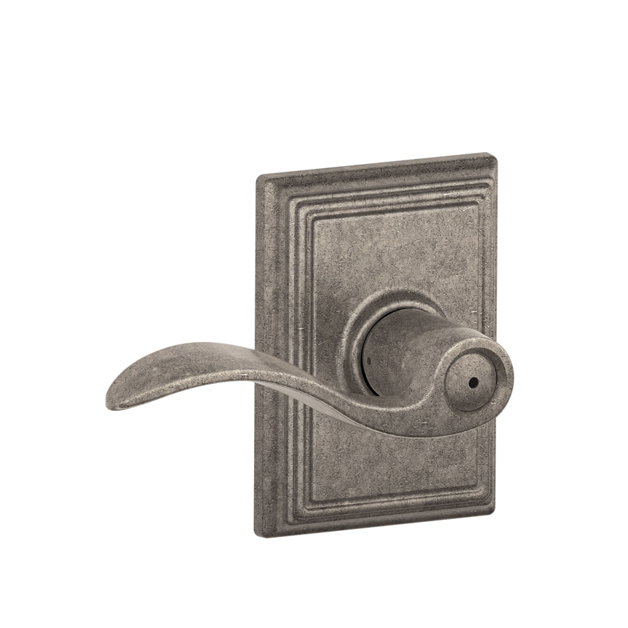 Schlage Decorative Addison Collections Accent Distressed Nickel Push-Button Lock Privacy Door Lever