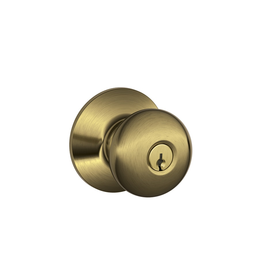 Schlage F Plymouth Antique Brass Round Keyed Entry Door Knob