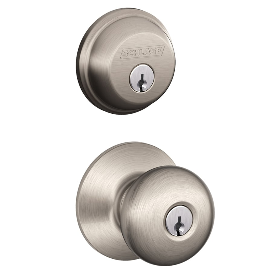 Shop Schlage Plymouth Satin Nickel Keyed Entry Door Knob At Lowes
