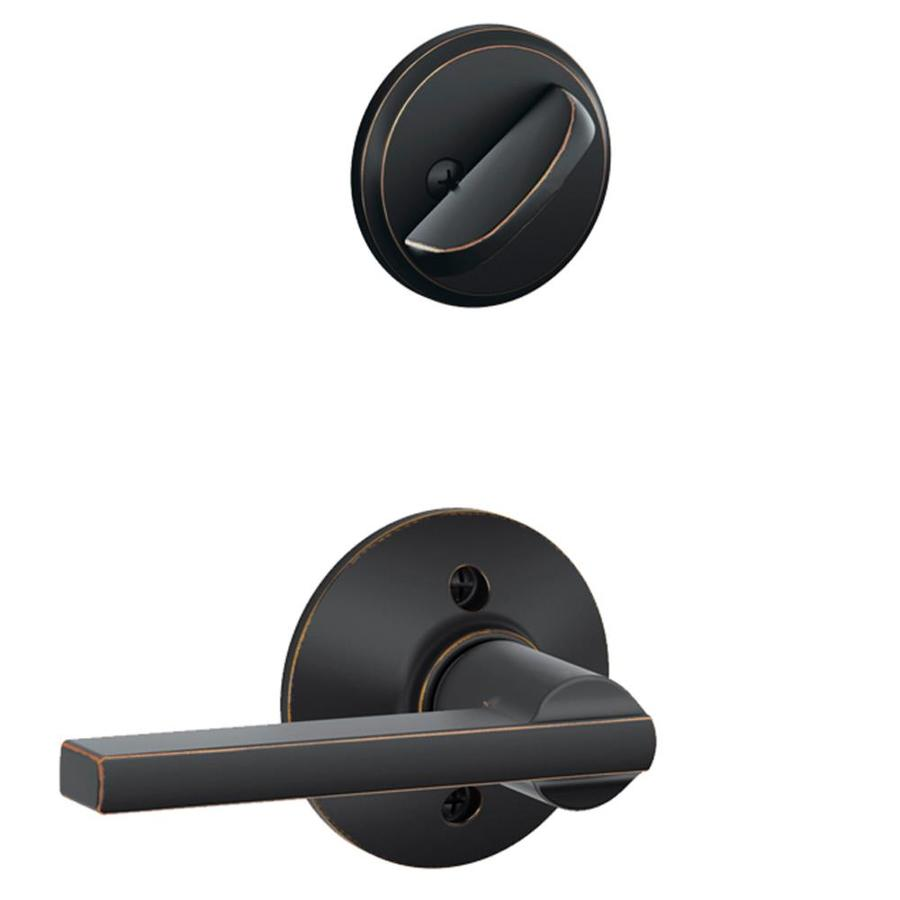 Schlage Latitude 1-5/8-in to 1-3/4-in Aged Bronze Single Cylinder Lever Entry Door Interior Handle