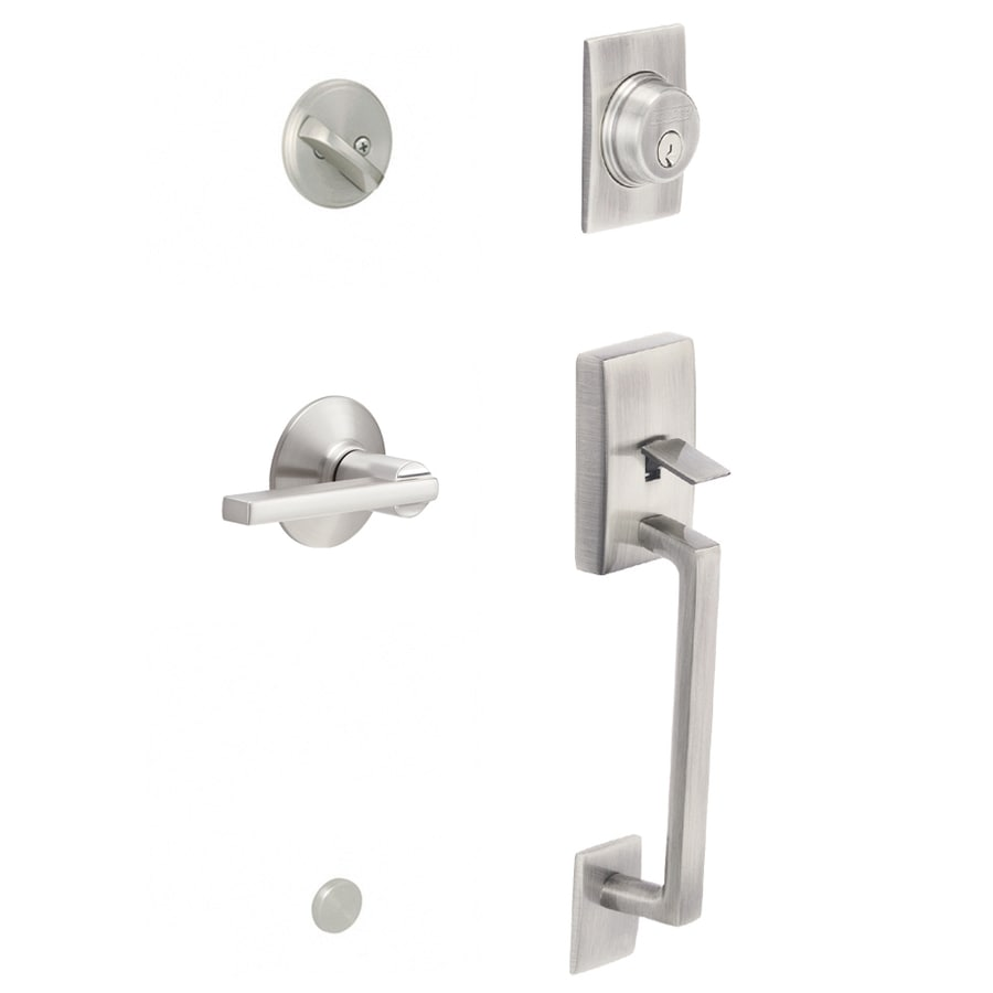 Beau Schlage F60 Cen/Lat Century Satin Nickel Single Cylinder Deadbolt Keyed Entry  Door Handleset