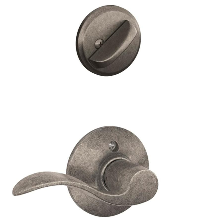 Shop Schlage Accent 1 5 8 In To 1 3 4 In Distressed Nickel Single Cylinder Lever Entry Door
