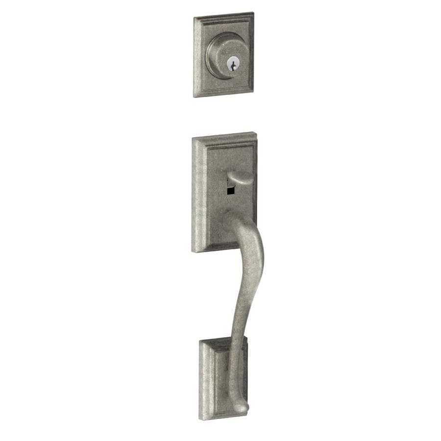 Shop Schlage Addison Adjustable Distressed Nickel Entry Door Exterior Handle