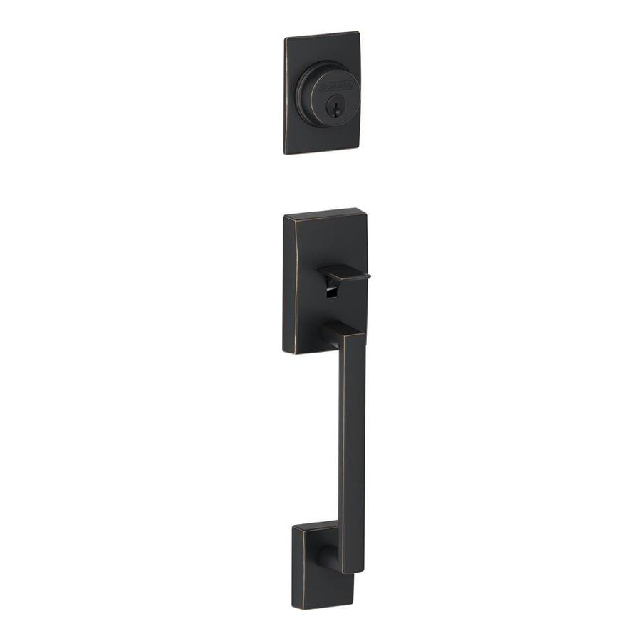 Shop schlage century aged bronze entry door exterior for Entry hardware