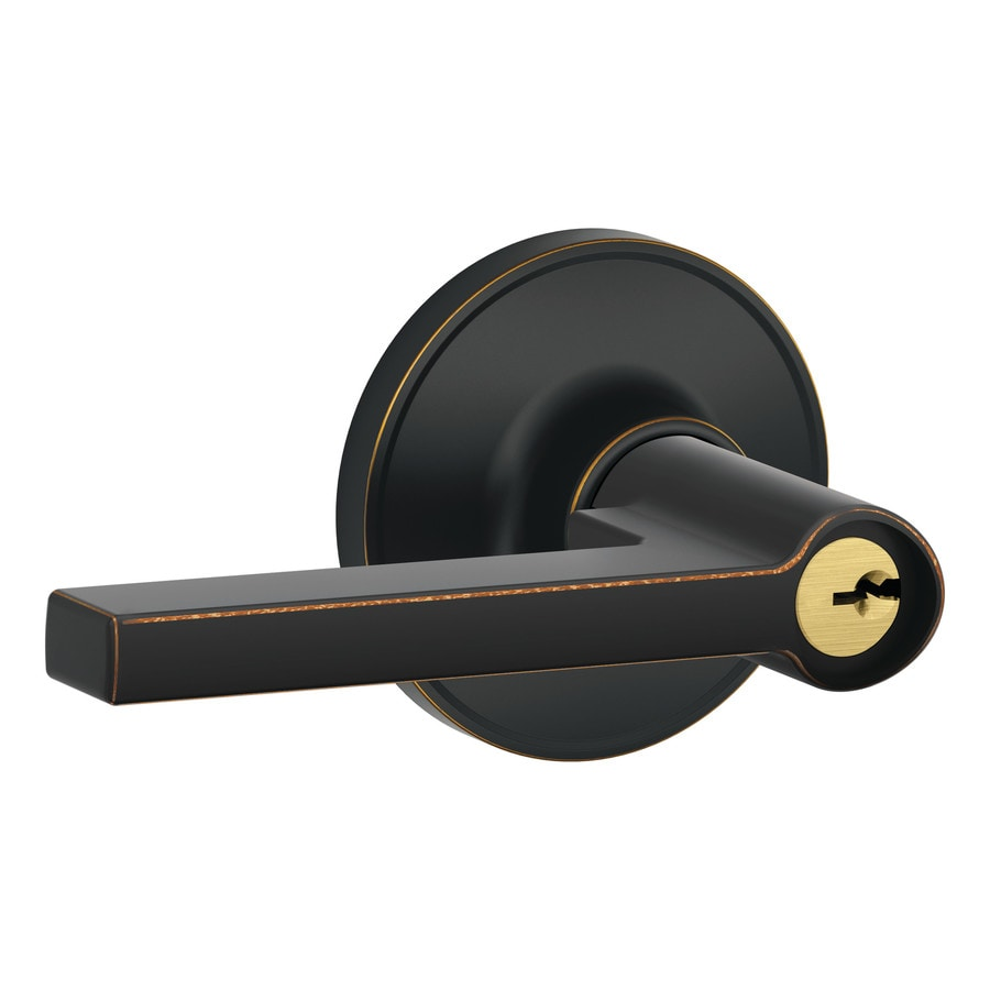 Schlage J Solstice Aged Bronze Universal Keyed Entry Door Lever