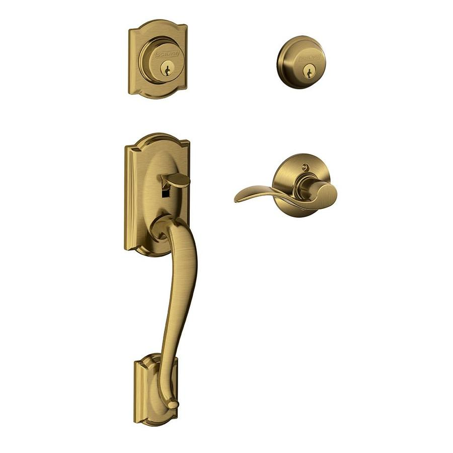 Schlage Camelot Accent Lever Traditional Antique Brass Dual-Lock Keyed Entry Door Handleset