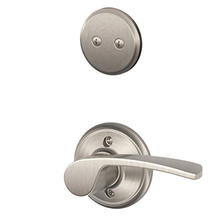 Schlage Merano 1-5/8-in to 1-3/4-in Satin Nickel Non-Keyed Lever Entry Door Interior Handle