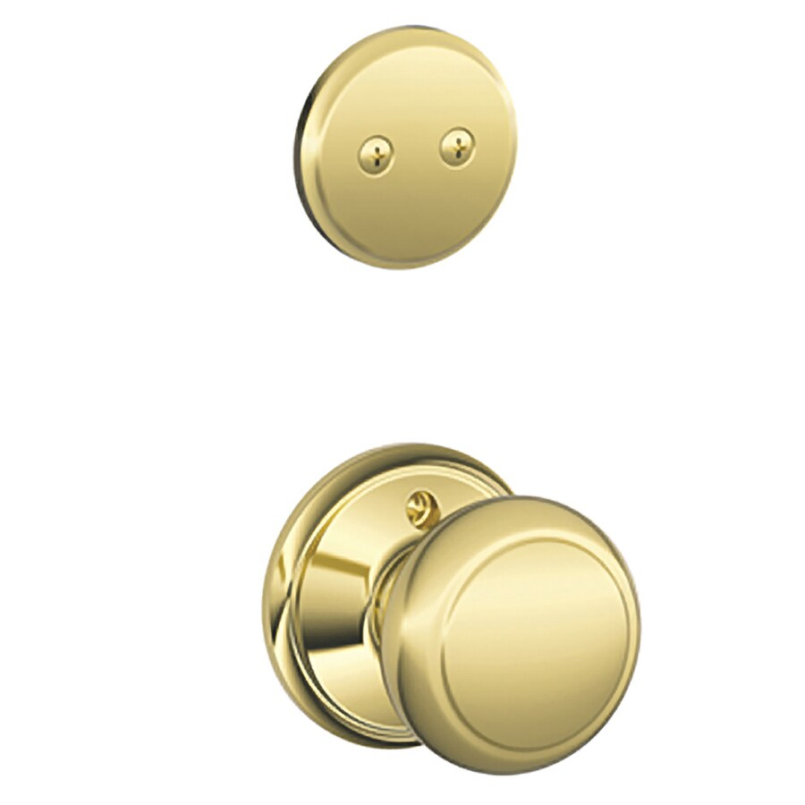 Schlage Andover 1-5/8-in to 1-3/4-in Bright Brass Non-Keyed Knob Entry Door Interior Handle