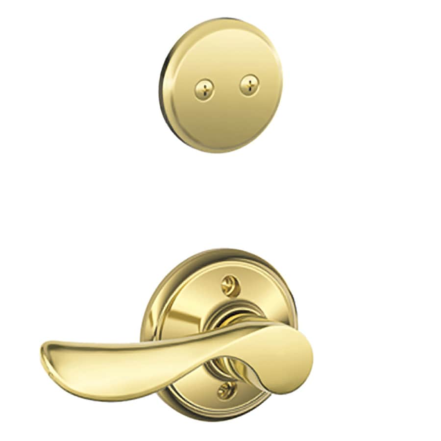 Schlage Champagne 1-5/8-in to 1-3/4-in Bright Brass Non-Keyed Lever Entry Door Interior Handle