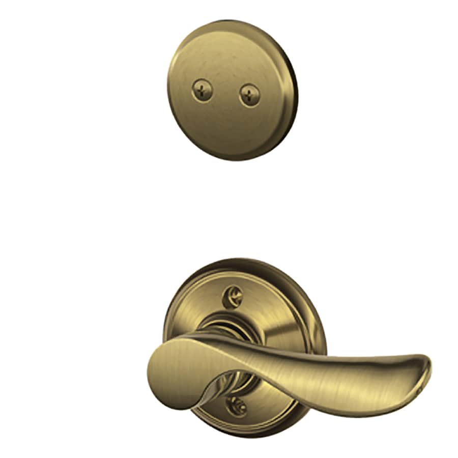 Schlage Champagne 1-5/8-in to 1-3/4-in Antique Brass Non-Keyed Lever Entry Door Interior Handle