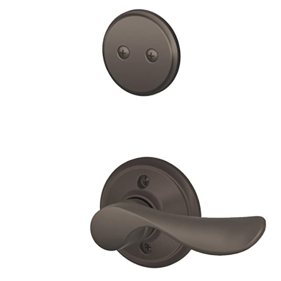 Schlage Champagne 1-5/8-in to 1-3/4-in Oil-Rubbed Bronze Non-Keyed Lever Entry Door Interior Handle