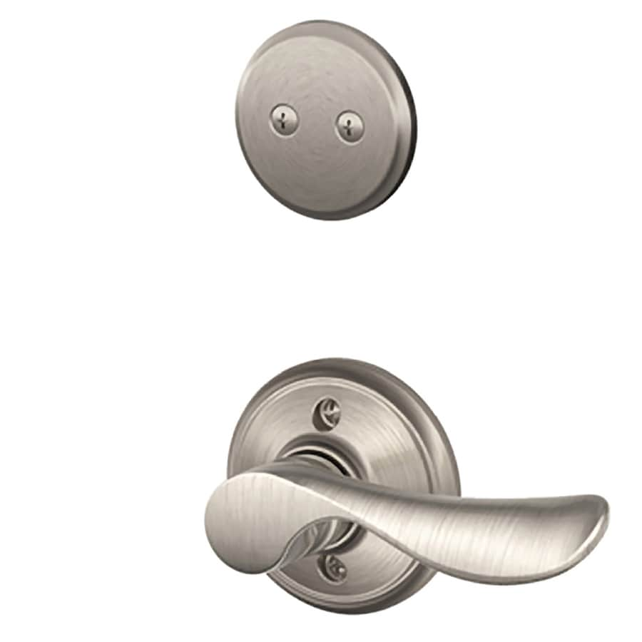 Schlage Champagne 1-5/8-in to 1-3/4-in Satin Nickel Non-Keyed Lever Entry Door Interior Handle