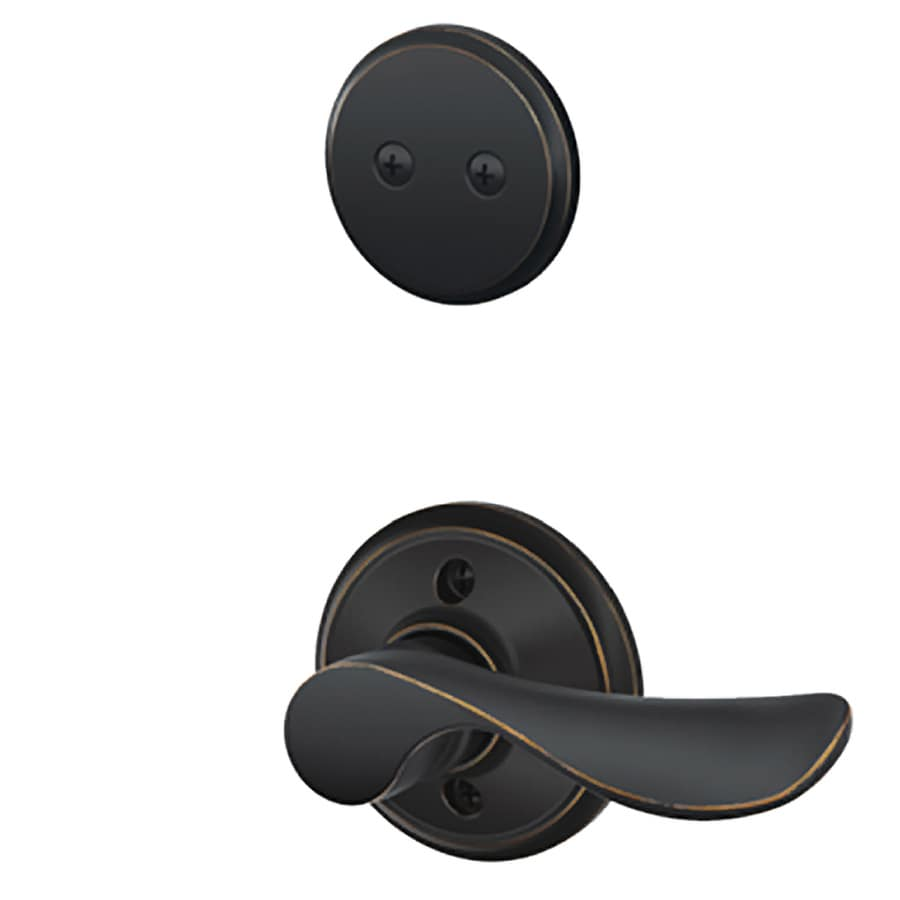 Schlage Champagne 1-5/8-in to 1-3/4-in Aged Bronze Non-Keyed Lever Entry Door Interior Handle
