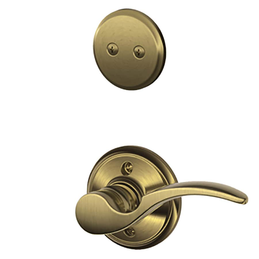 Schlage St Annes 1-5/8-in to 1-3/4-in Antique Brass Non-Keyed Lever Entry Door Interior Handle