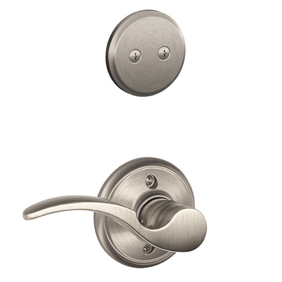 Shop Schlage St Annes 1 5 8 In To 1 3 4 In Satin Nickel Non Keyed Lever Entry Door Interior