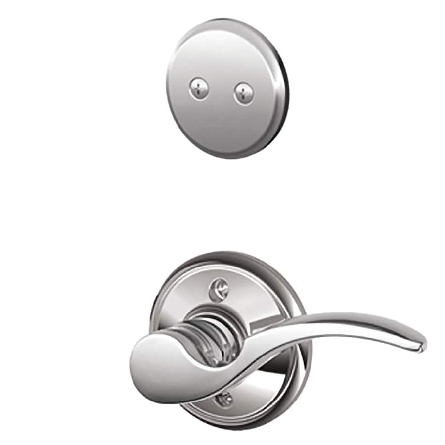 Schlage St Annes 1-5/8-in to 1-3/4-in Bright Chrome Non-Keyed Lever Entry Door Interior Handle