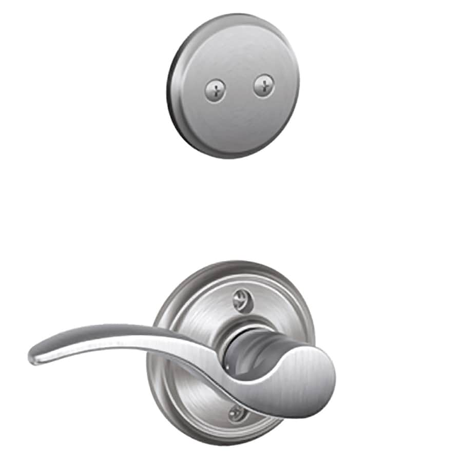 Schlage St Annes 1-5/8-in to 1-3/4-in Satin Chrome Non-Keyed Lever Entry Door Interior Handle