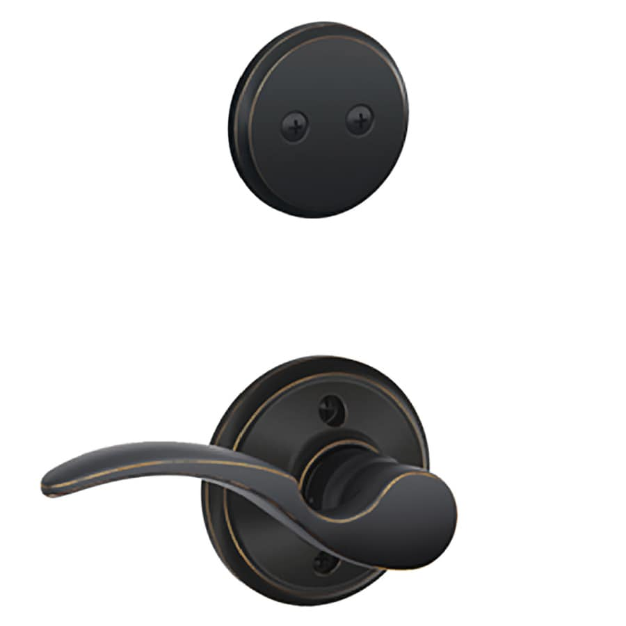 Schlage St Annes 1-5/8-in to 1-3/4-in Aged Bronze Non-Keyed Lever Entry Door Interior Handle