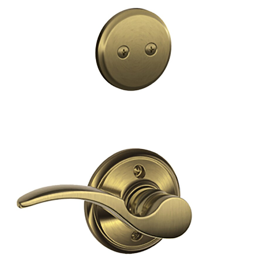 Shop Schlage St Annes 1 5 8 In To 1 3 4 In Antique Brass Non Keyed Lever Entry Door Interior