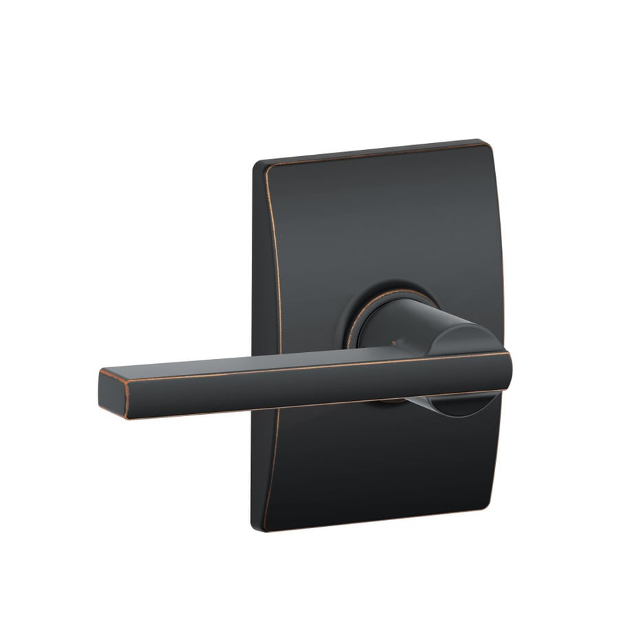 Schlage F Decorative Greenwich Collections Latitude Aged Bronze Universal Passage Door Lever