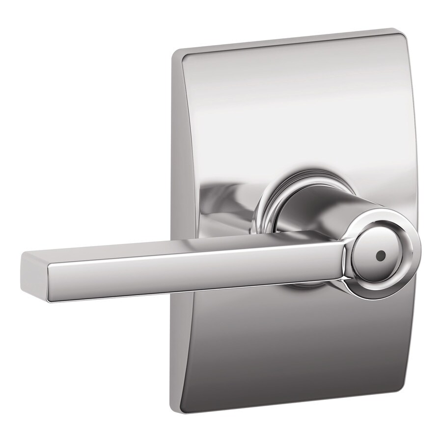 Schlage F Decorative Century Collections Latitude Bright ChromePush-Button Lock Privacy Door Lever