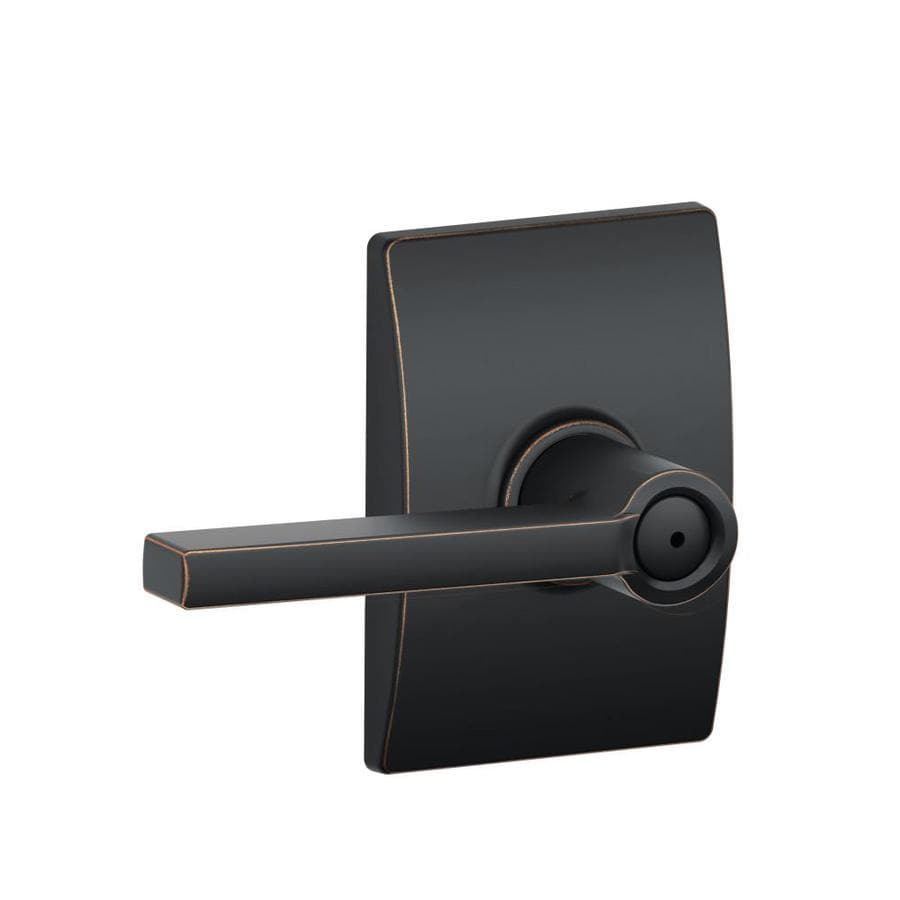 Schlage F Decorative Century Collections Latitude Aged Bronze Universal Push-Button Lock Privacy Door Lever