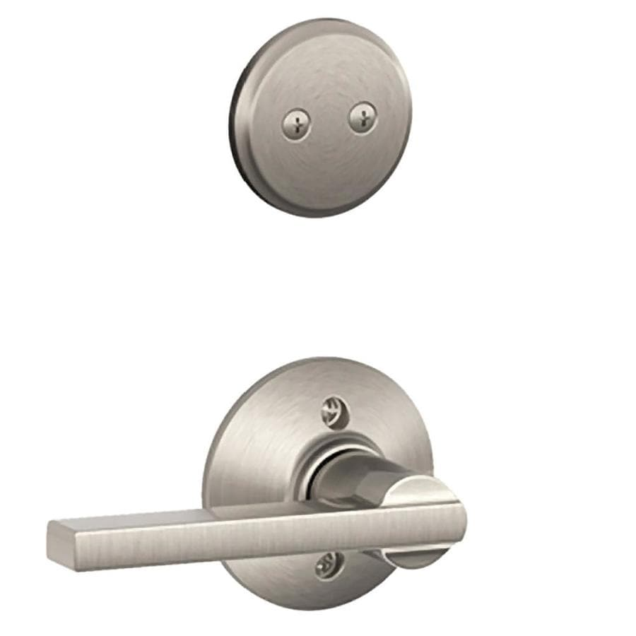 Schlage Latitude 1-5/8-in to 1-3/4-in Satin Nickel Non-Keyed Lever Entry Door Interior Handle