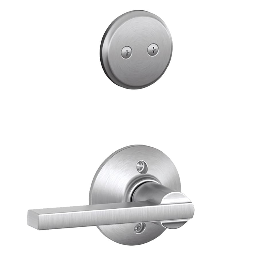 Schlage Latitude 1-5/8-in to 1-3/4-in Satin Chrome Non-Keyed Lever Entry Door Interior Handle