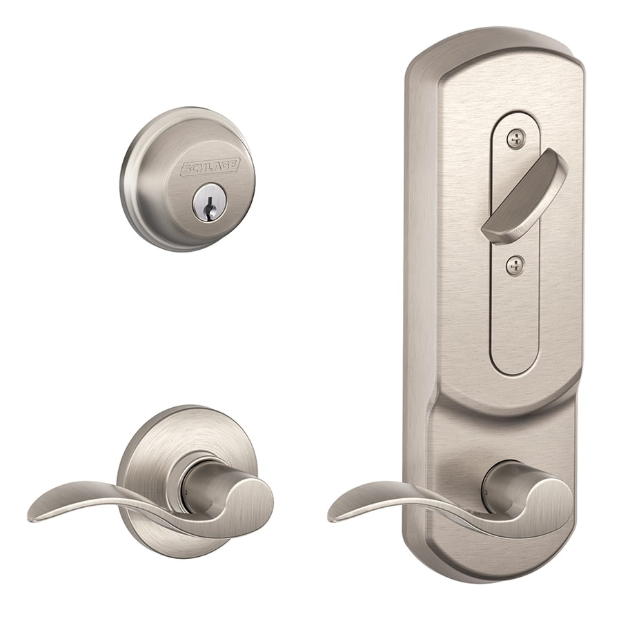 Schlage Accent Satin Nickel Single-Lock Keyed Entry Door Handleset
