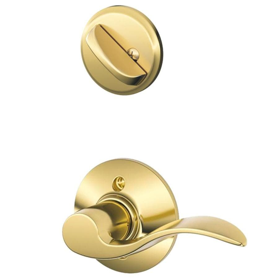 Schlage Accent 1-5/8-in to 1-3/4-in Bright Brass Single Cylinder Lever Entry Door Interior Handle