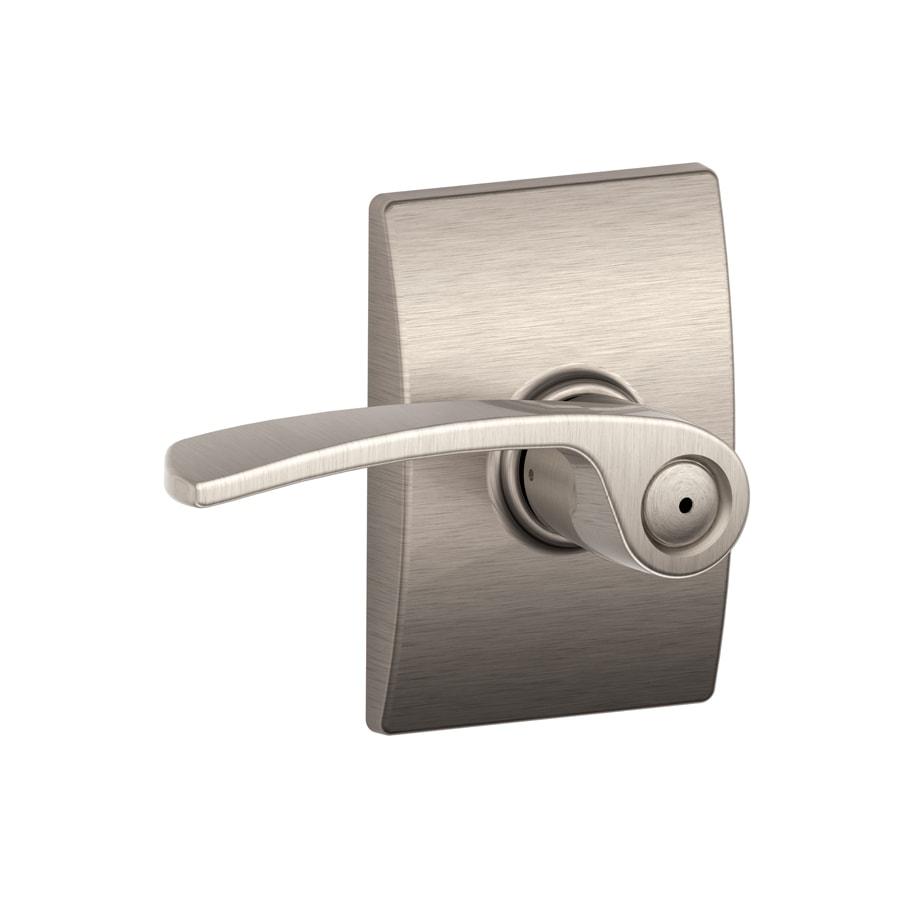 Schlage Decorative Century Collections Merano Satin Nickel Push-Button Lock Privacy Door Lever