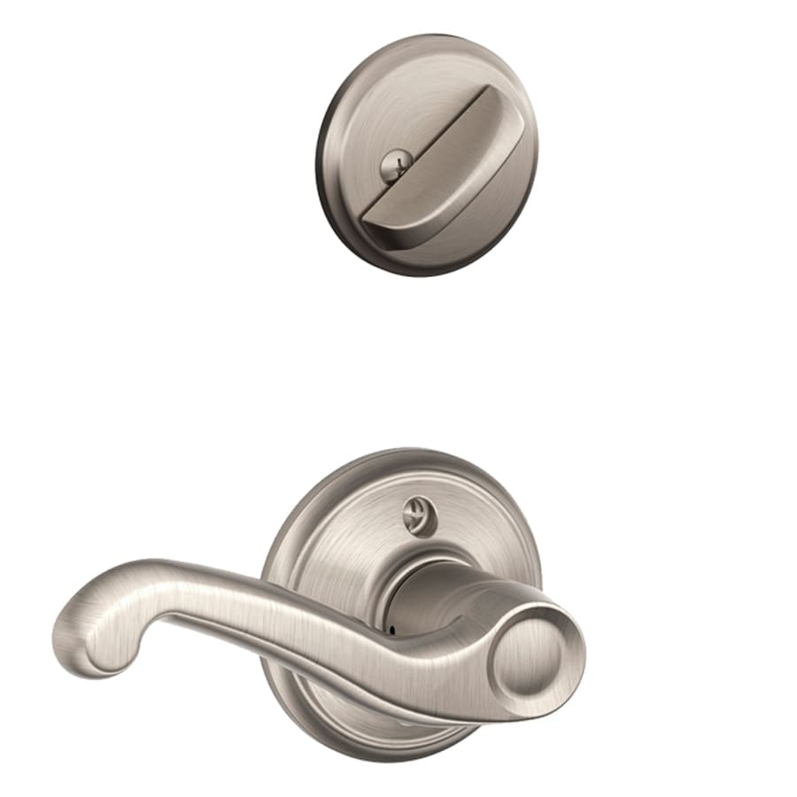 Schlage Flair 1-5/8-in to 1-3/4-in Satin Nickel Single Cylinder Lever Entry Door Interior Handle
