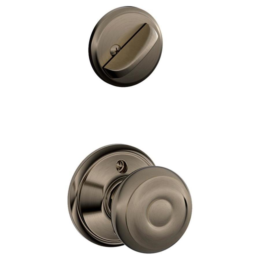 Schlage Georgian 1-5/8-in to 1-3/4-in Antique Pewter Single Cylinder Knob Entry Door Interior Handle
