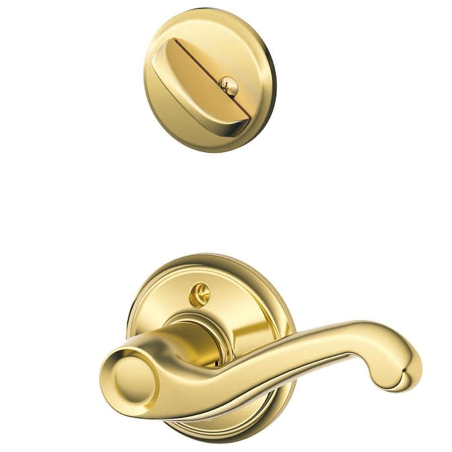 Schlage Flair 1-5/8-in to 1-3/4-in Bright Brass Single Cylinder Lever Entry Door Interior Handle