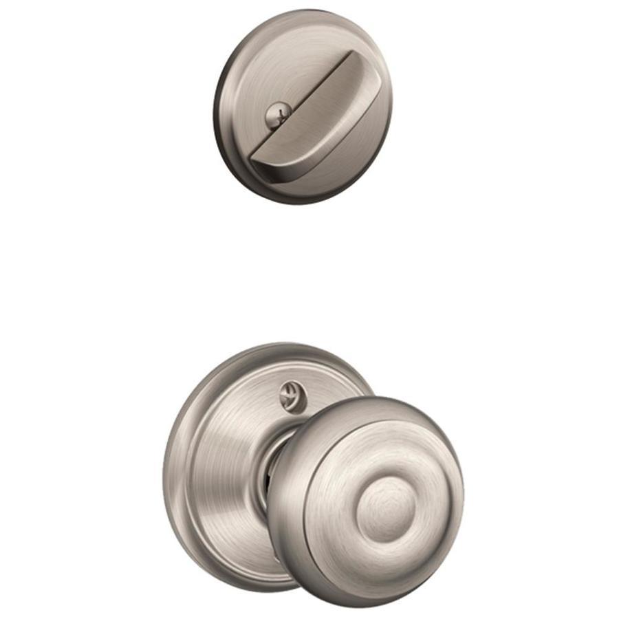 Schlage Georgian 1-5/8-in to 1-3/4-in Satin Nickel Single Cylinder Knob Entry Door Interior Handle