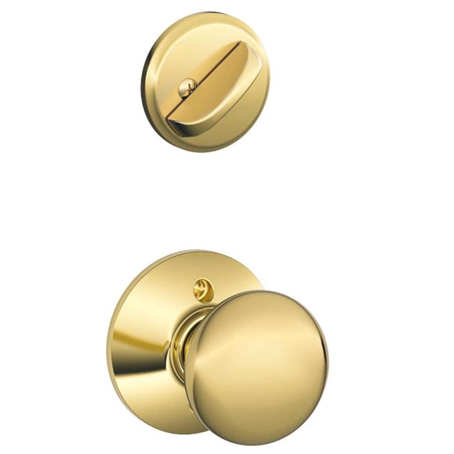 Schlage Plymouth 1-5/8-in to 1-3/4-in Bright Brass Single Cylinder Knob Entry Door Interior Handle