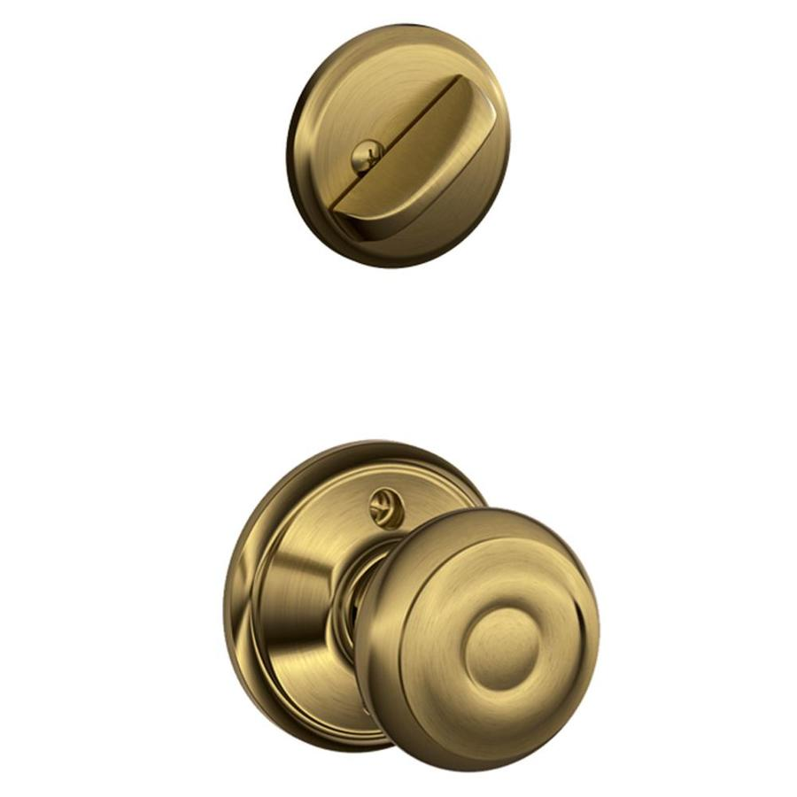 Schlage Georgian 1-5/8-in to 1-3/4-in Antique Brass Single Cylinder Knob Entry Door Interior Handle