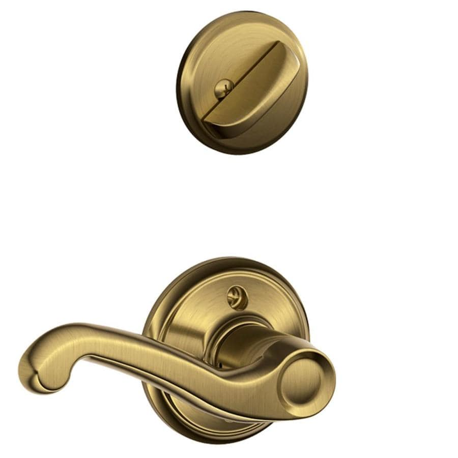 Schlage Flair 1-5/8-in to 1-3/4-in Antique Brass Single Cylinder Lever Entry Door Interior Handle