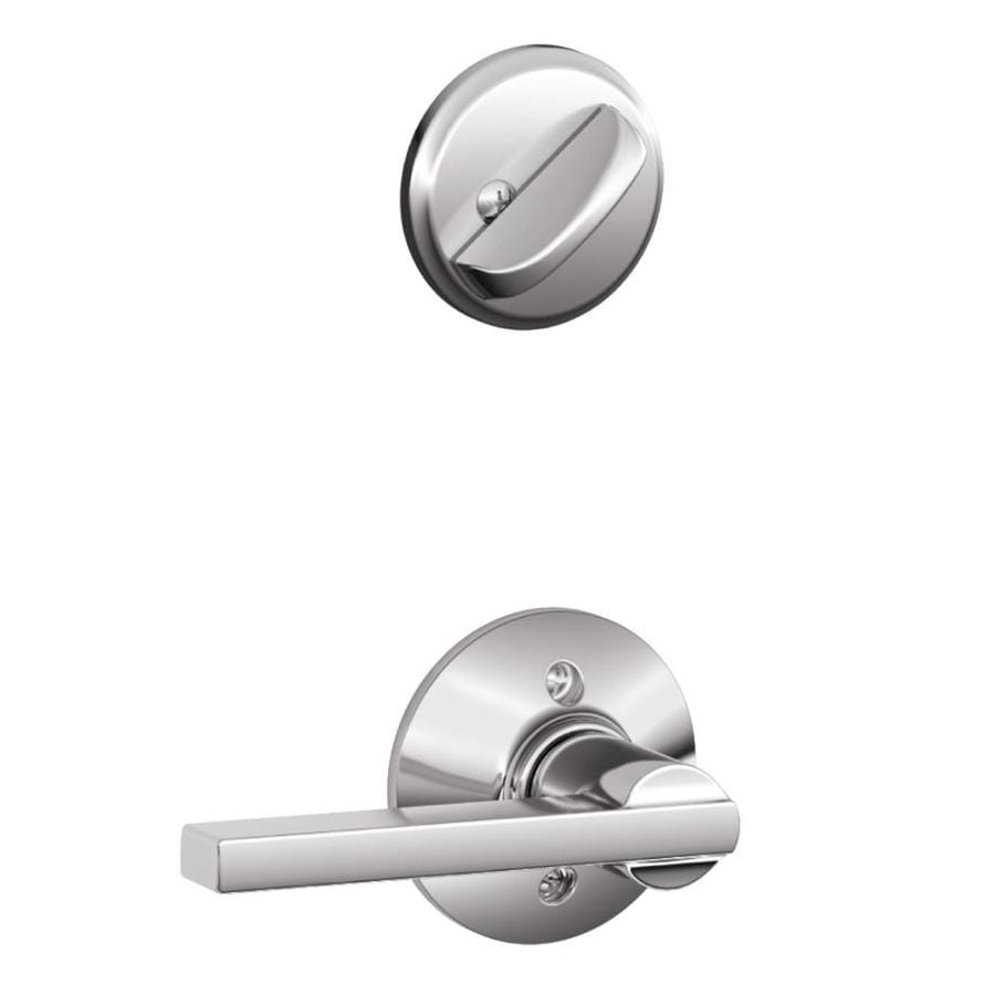 Schlage Latitude 1-5/8-in to 1-3/4-in Bright Chrome Single Cylinder Lever Entry Door Interior Handle
